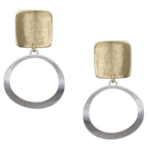 Marjorie Baer Curved Square with Curved Ring Earring