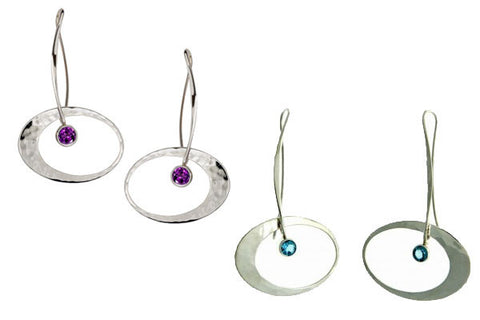 Ed Levin Elliptical Elegance Earrings with Stone