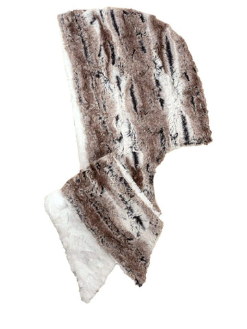 Faux Fur Hoody Scarf - Ivory with Birch