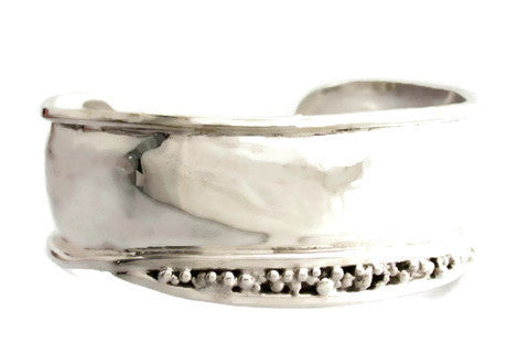 Sterling Silver Wide Cuff with Nuggets