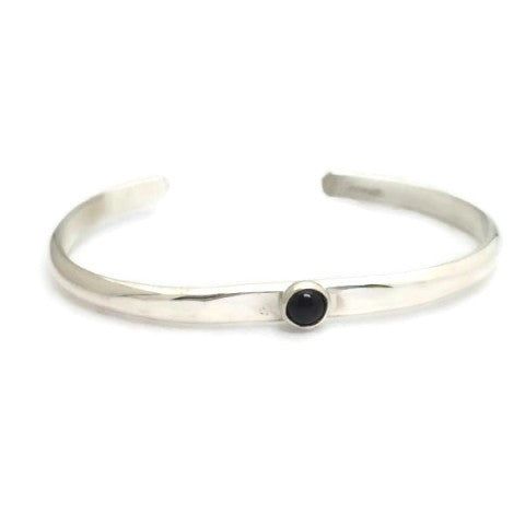 Sterling Silver Narrow Cuff with Stone