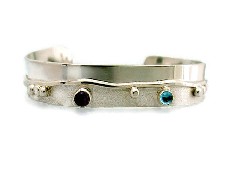 Sterling Silver Cuff with Waved Line and Semiprecious Stones
