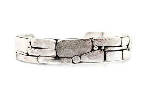 Sterling Silver Stone Wall Inspired Cuff