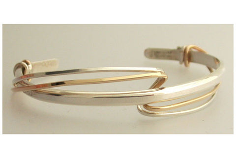 Sterling Silver Cuff with Loose Silver/Gold Filled Wrap