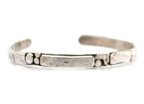 Sterling Silver Stone Wall Inspired Thin Cuff