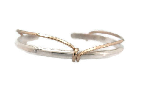 Sterling Silver Cuff with Gold Filled Wrap