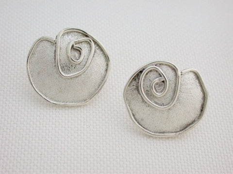 Sterling Silver Stylized Rose Earrings
