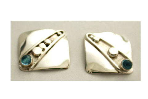 Sterling Silver Earrings with Lines and Nuggets with Blue Topaz