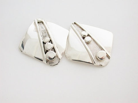 Sterling Silver Earrings with Lines and Nuggets