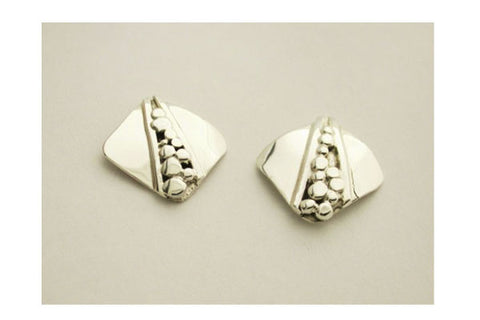 Sterling Silver Square Nugget Earrings