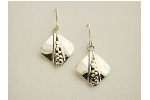 Sterling Silver Square Nugget Wire Earrings