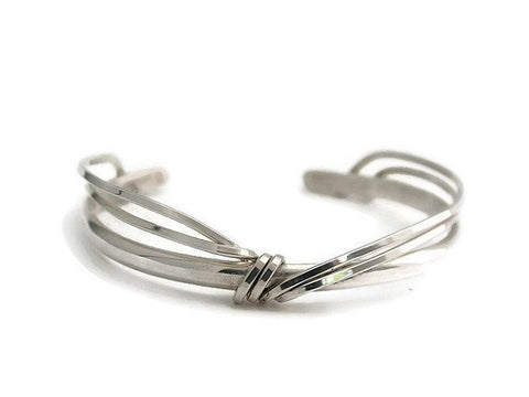 Sterling Silver Cuff with Double Wire Wrap