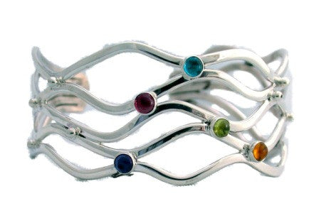Sterling Silver 5 Wave Cuff with Cabochon Stones