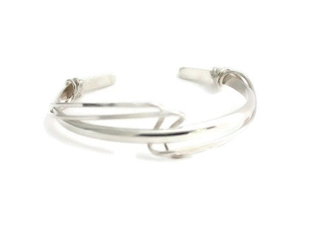 Sterling Silver Cuff with Loose Double Silver Wrap