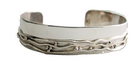 Sterling Silver Cuff with Wave Lines & Nuggets