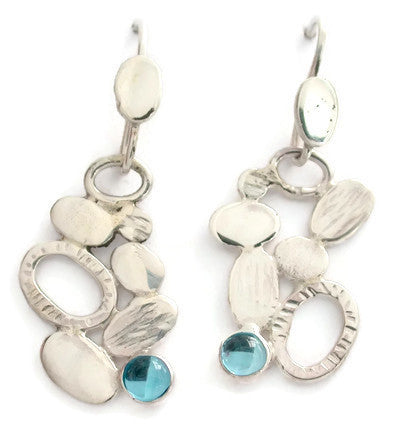 Sterling Silver Pebble Collection Earrings with Stone