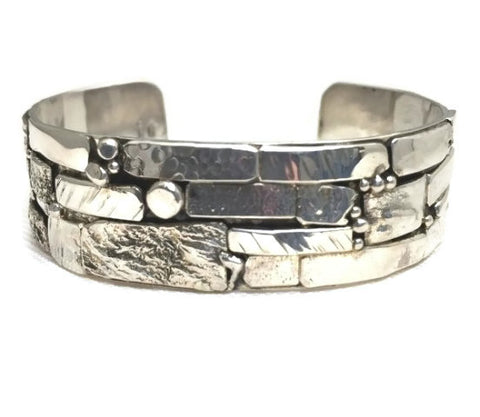 Sterling Silver Stone Wall Inspired Textured Cuff