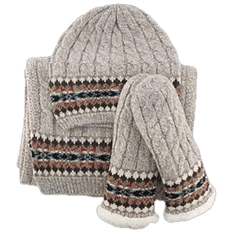 Ladies Knit Winter Gift Set - Oatmeal