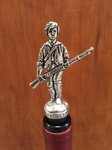Minuteman Pewter Bottle Stopper