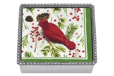 "Mariposa ""Cardinal"" Beaded Napkin Box"