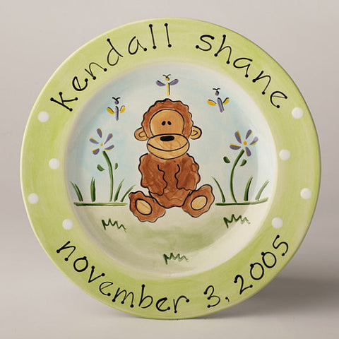 Personalized Ceramic Monkey Plate
