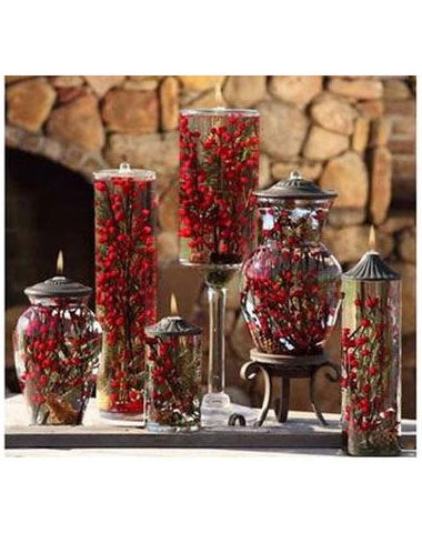 "Lifetime Oil Burning ""Red Berry and Fern"" Theme Candles"