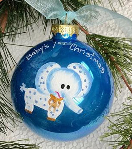 Handpainted Baby's First Ornament Elephant