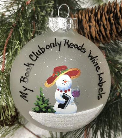 Handpainted Book Club Ornament