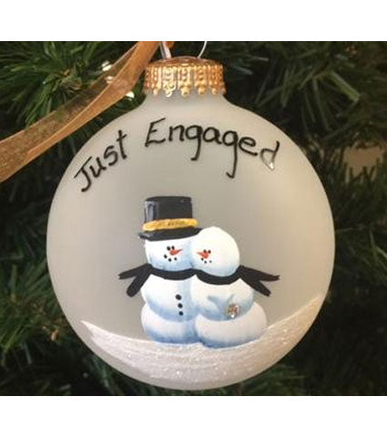 "Handpainted ""Just Engaged"" Ornament"