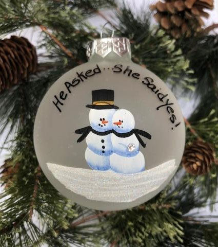 "Handpainted ""He Asked..."" Engagement Ornament"