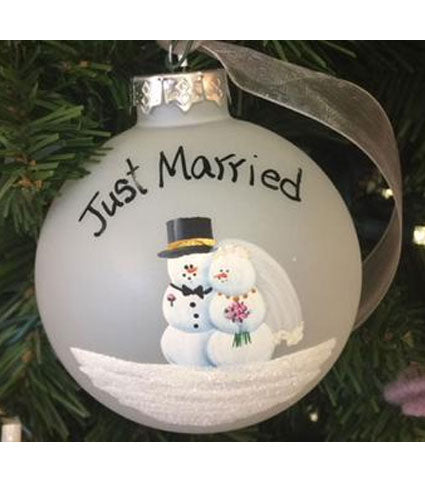 "Handpainted ""Just Married"" Ornament"