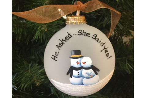 Handpainted Engagement Ornament