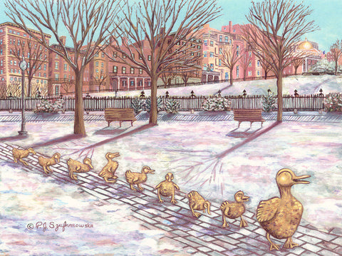 Boston Ducklings Winter Scene