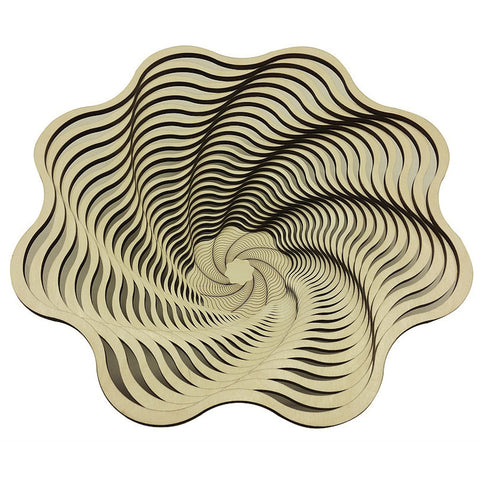 Laser Cut Wooden Bowl - Spiral