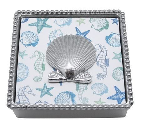 "Mariposa ""Scallop Shell"" Beaded Napkin Box"