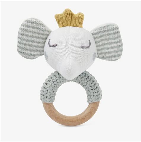 Elephant Prince Wooden Baby Rattle