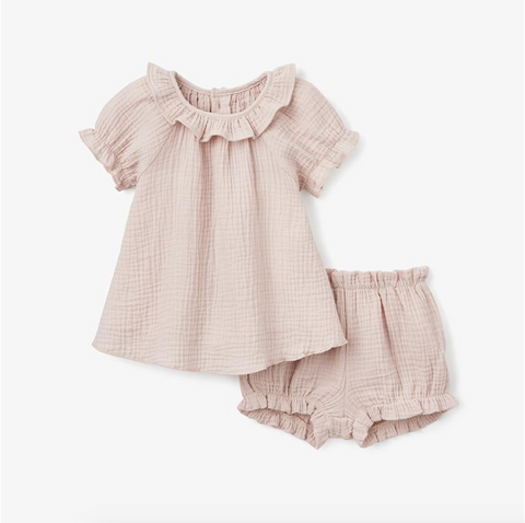 Warm Blush Organic Muslin Dress & Bloomer Set