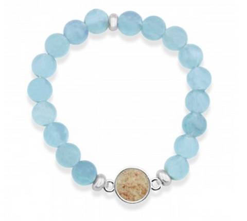 Dune- Beaches of Cape Cod Aqua Bead Bracelet