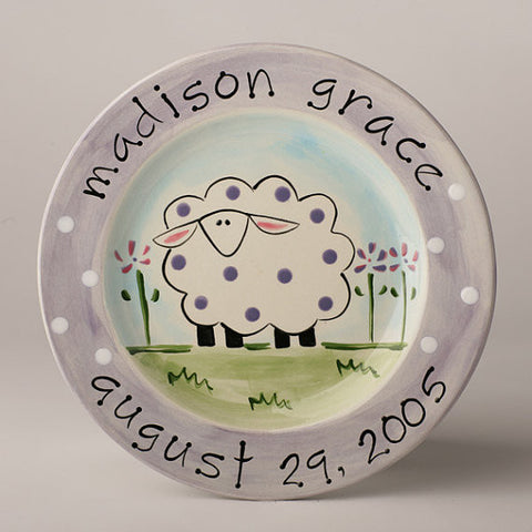Personalized Ceramic Sheep Plate