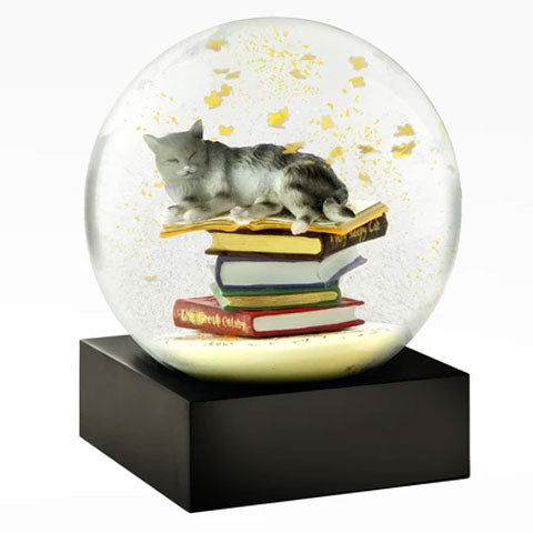 """Cat on the Books"" Snow Globe"