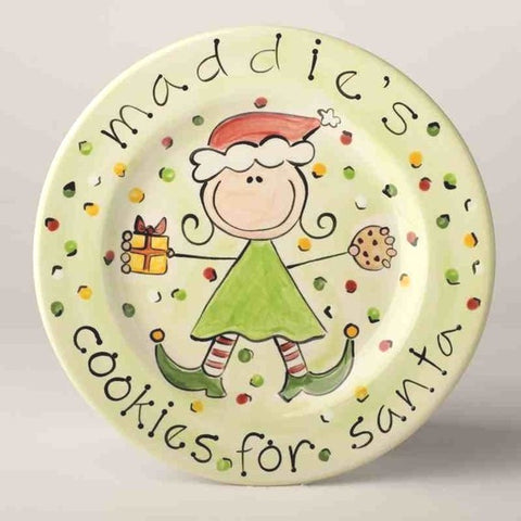 Personalized Holiday Cookies for Santa Elf Plate