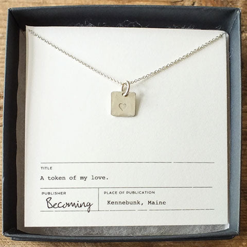 Heart Square Charm Necklace