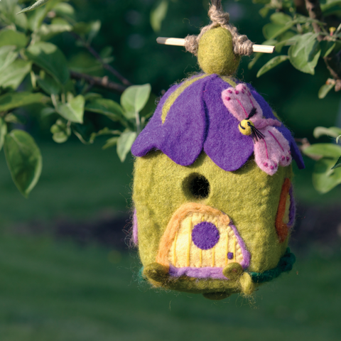 "Felted Outdoor ""Pixie House"" Birdhouse"