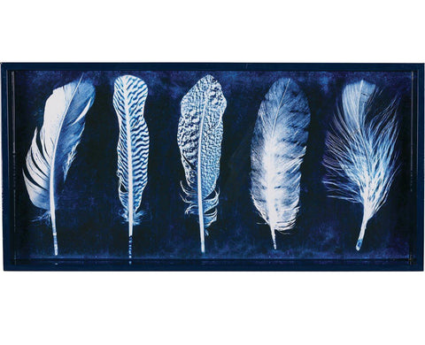 Art Tray - 10x20 Indigo Feathers