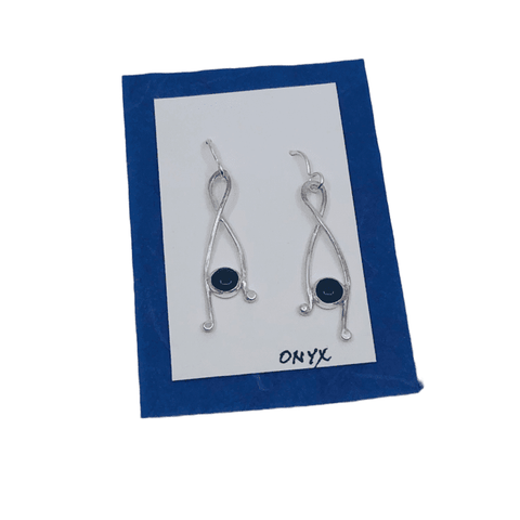 Sterling Silver Twist Stone Earrings