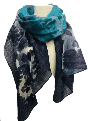 Beautiful Burnout Scarf - Teal & Purple
