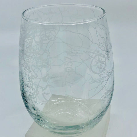 Boston Marathon Map Stemless Glass