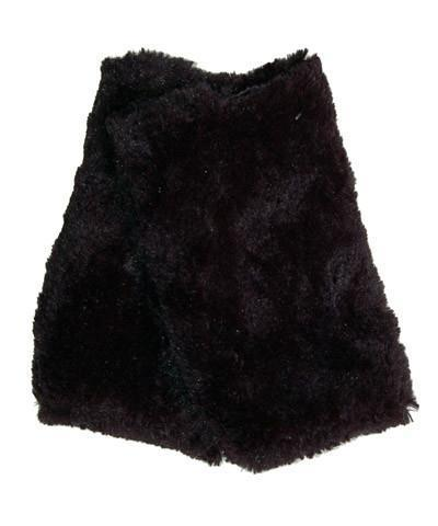 Faux Fur Texting Gloves-Rosebud Black