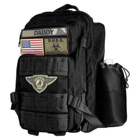 Black Dad On Diaper Duty(D.O.D.D.) Backpack XH w/ Badges - Tactical Dad®