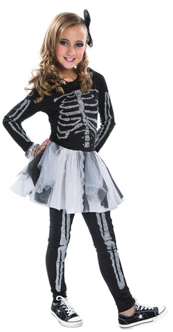 Silver Skeleton Child Costume